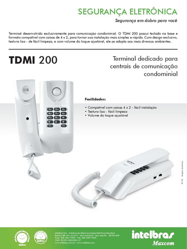 interfone dedicado apartamento intelbras tdmi 200 / tdmi 300