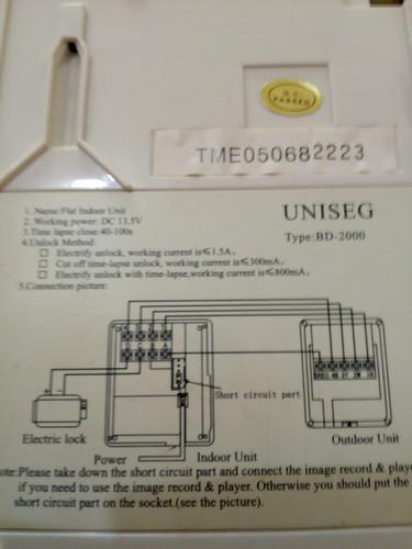 interfone e monitor de camera uniseg bd 2000