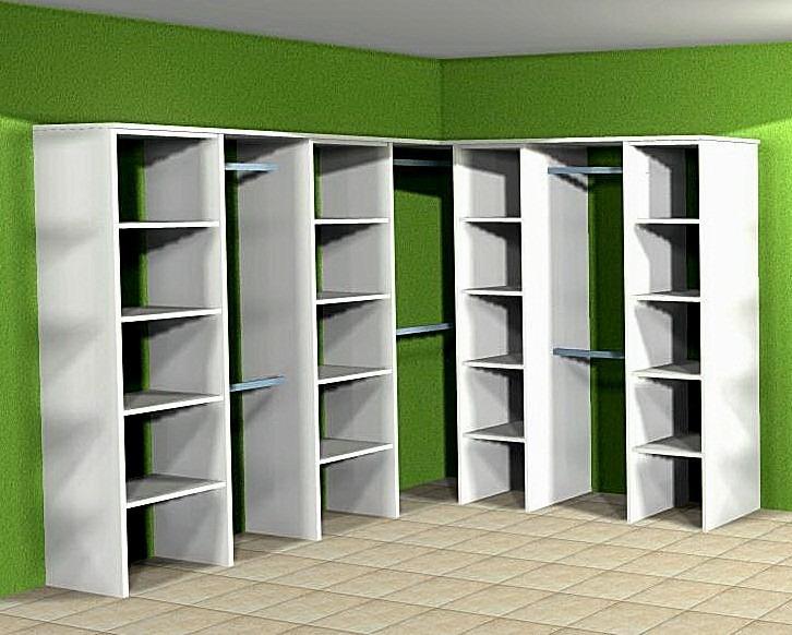 Interior Vestidor En L 200 X 200 Melamina Blanca 18mm 9313 - Vestidor-en-l