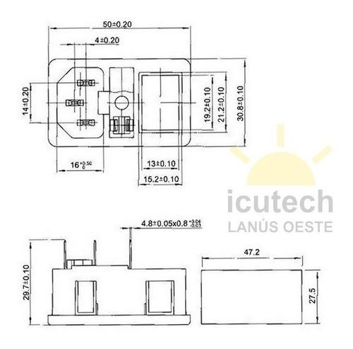 interlock 220v llave y fusible (20mm) a presión impresora 3d