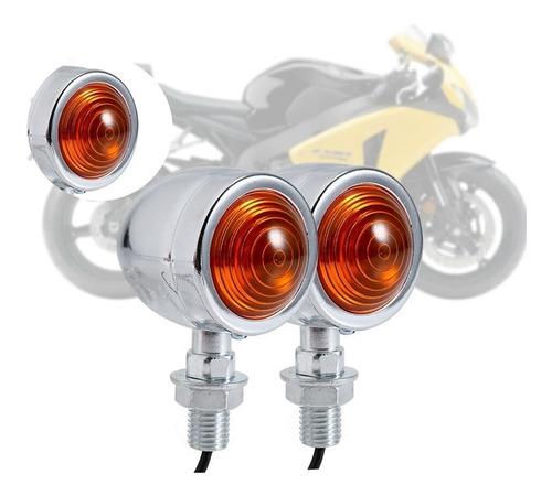 intermitentes cromados de metal para moto 2 unidades
