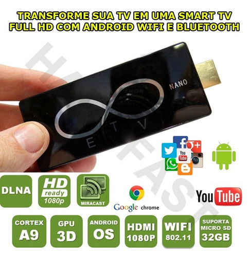 internet box transforme em smart tv android wifi hdmi usb