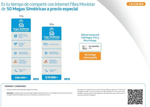 internet full hogar 50 megas fibra optica de movistar.