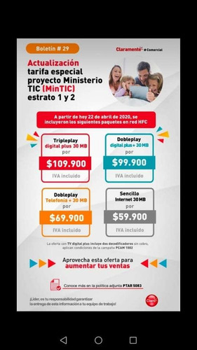 internet telefonía y televisión con claro hogar desde 60.000