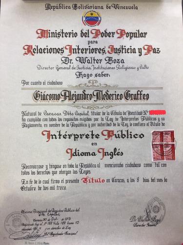 interprete publico ingles/español traducciones legales