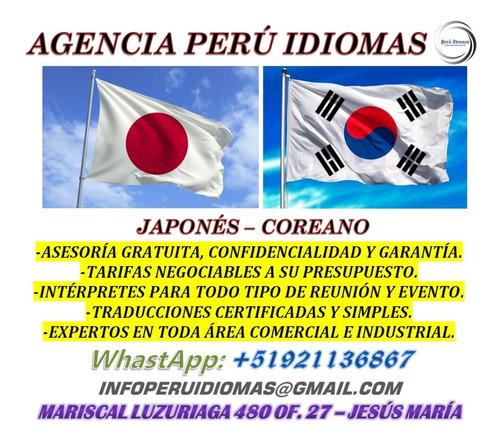 intérpretes chino mandarín, cantonés, japonés y coreano