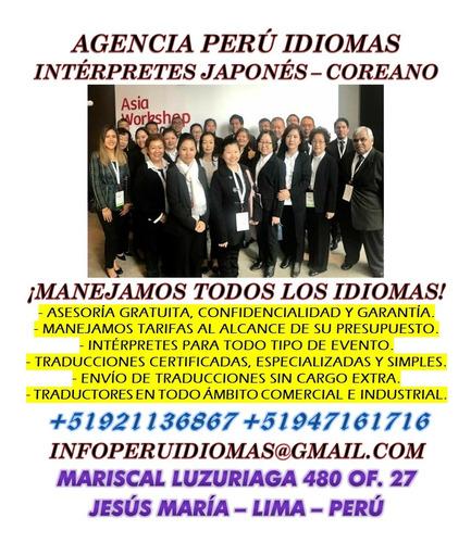 intérpretes japonés y coreano para reuniones y eventos