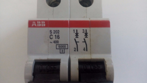 interruptor aut modular abb s202 c16amp 2 polos. 400v 60hz