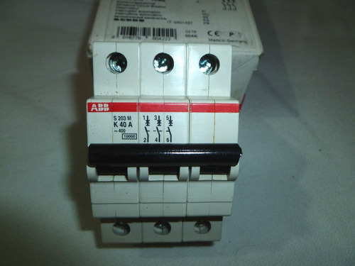 interruptor aut modular abb s203m-k40amp 3 polos. 440v60hz