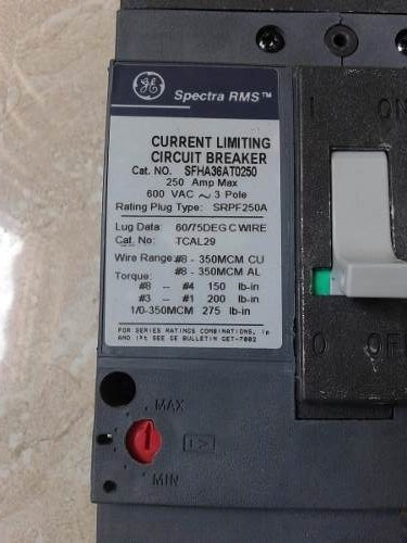 interruptor general electric de 250amp. serie spectra. 600v