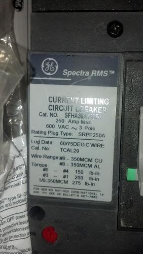 interruptor general electric de 250amp. serie spectra. 600v