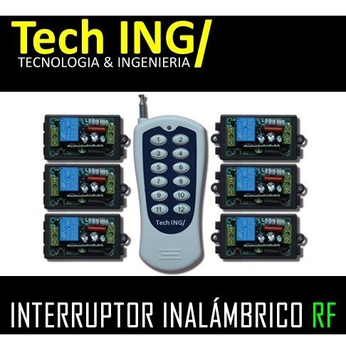 interruptor inalámbrico rf 6 canales no dmx + control remoto