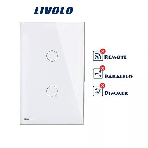 interruptor led livolo touch 2 vias simples vidro temperado