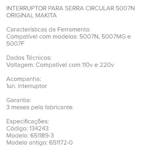 interruptor original  serra  circular makita 5007n/5007mg