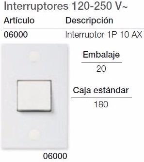 interruptor sencillo vimar linea block #6000 blanco