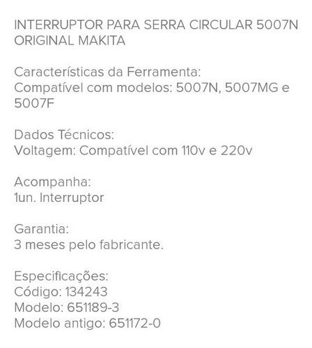 interruptor  serra  circular makita 5007n/5007mg