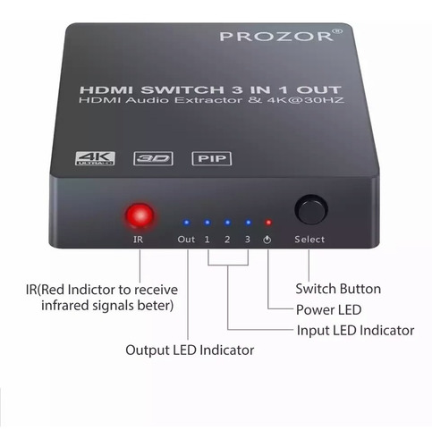interruptor switch hdmi 4k pip 3d 1080 extractor óptico spdi