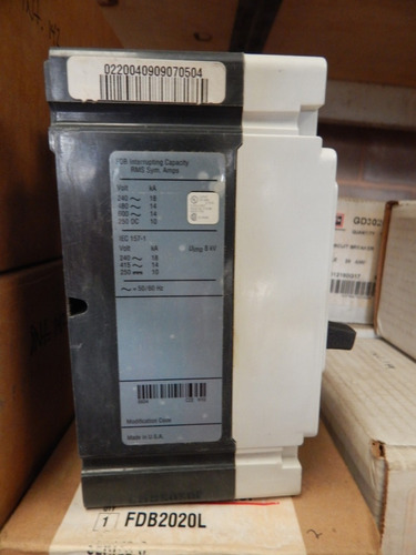 interruptor termo magnético 20amp, 2 polos