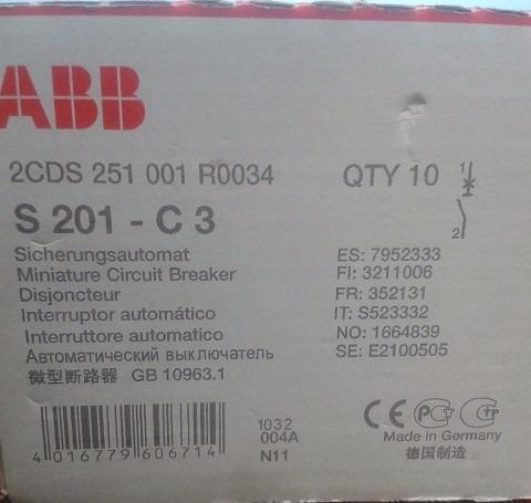 interruptor termomagnetico abb s201 c3