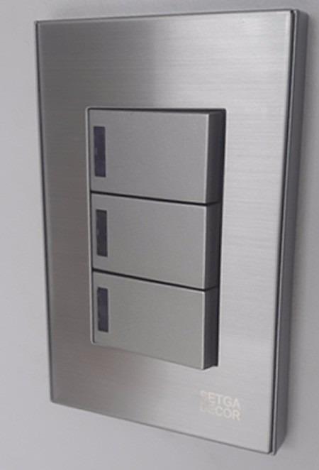 Interruptor tomada tripla 3 teclas inox a o escovado setga - Modelos de interruptores de luz ...