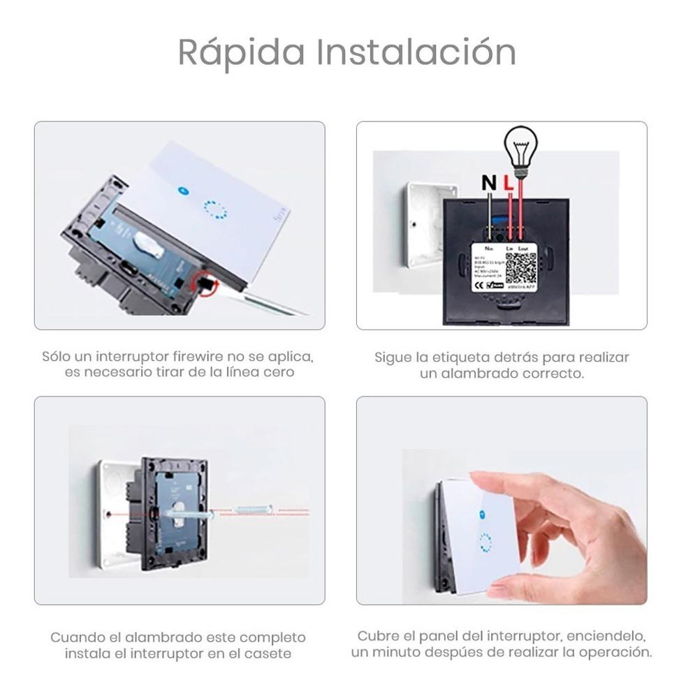 Interruptor Touch De Pared Sonoff De 3 Apagadores T1 Us 3c