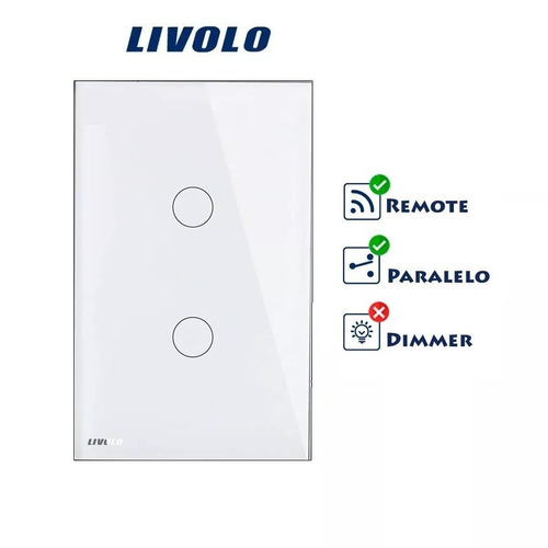 interruptor touch livolo 2 vias rf controle paralelo