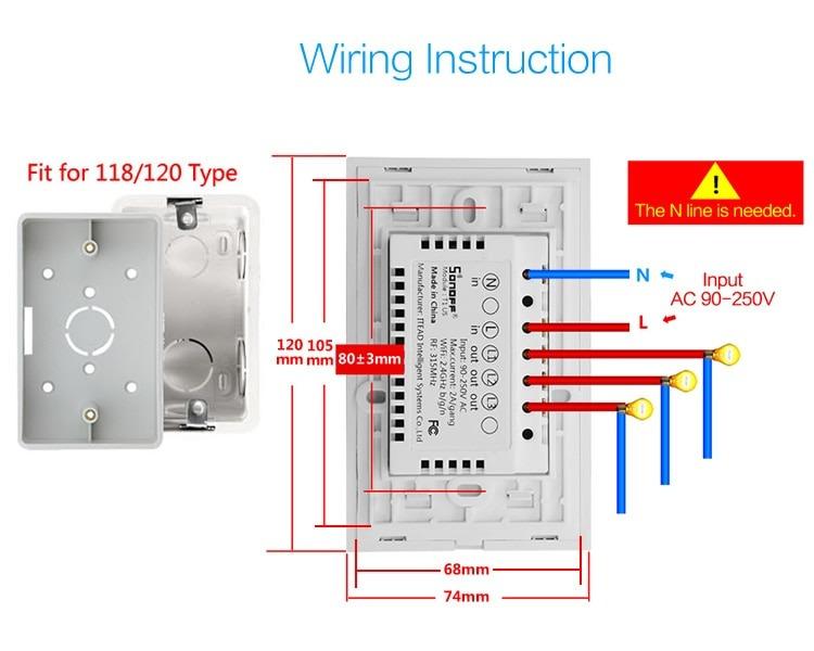 Interruptor Wifi Inteligente Sonoff Touch T1 De 3 Apagadores