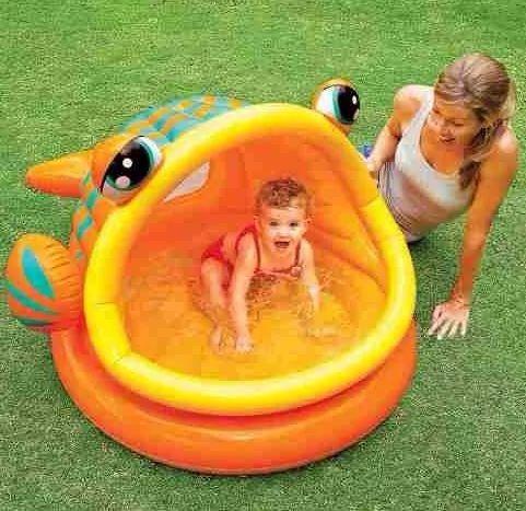 intex piscina inflable en forma de pez con techo juguetes