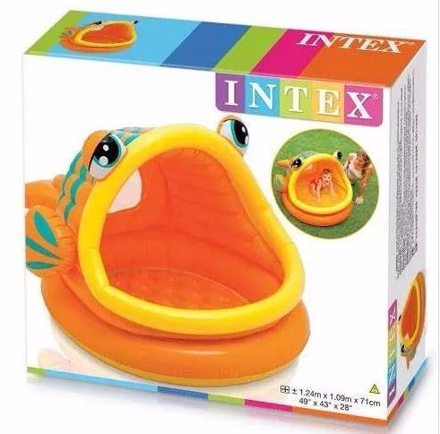 Intex piscina inflable en forma de pez con techo juguetes for Piscina inflable intex para bebe