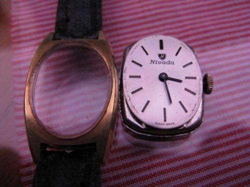 intihuatana: reloj pulsera swiss mujer, nivada plaque oro