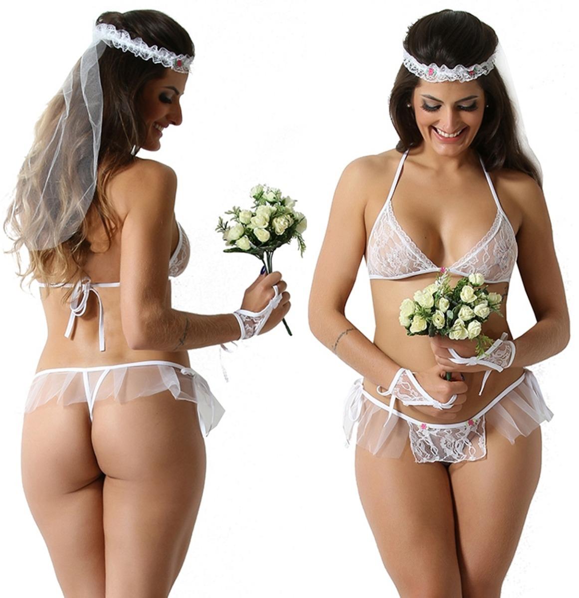 7a887a10a Lingeries Sexy Moda Intima Fantasia Noivinha Lingerie - R  30