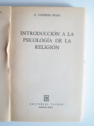 introducción a la psicología de la religión stephens spinks