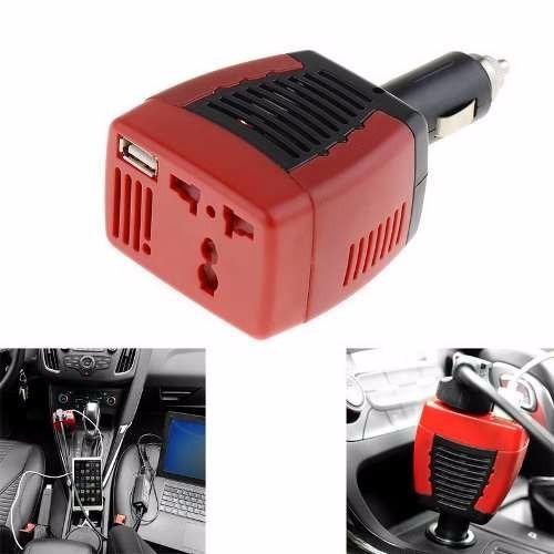 inversor 12v 220v 75w cargador usb conversor adaptado auto