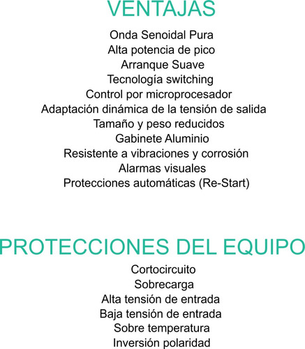 inversor conversor senoidal pura 1000w. 12v. probattery