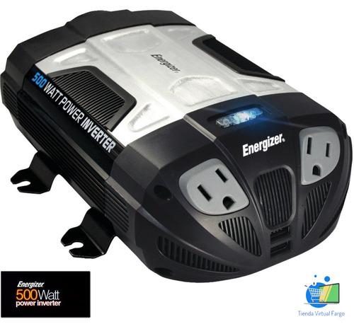 inversor convertidor energizer 500 watts 12 vdc a 115 vac