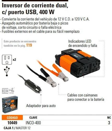 inversor corriente 400 w truper 10449