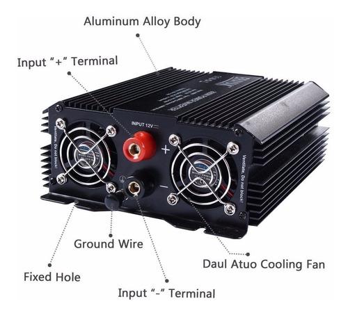 inversor corriente 800w power inverter 3 contactos 2 usb