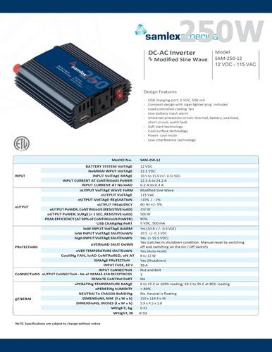 inversor d corriente (cd-ca) 250w 12vcd a 115vca 60hz samlex