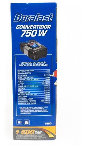 inversor de corriente 12v a 110v 750w continuos 1500w pico