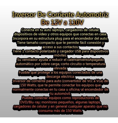 inversor de corriente automotriz de 12v a 110v 150w coche