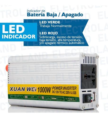 inversor de corriente conversor 1000w 12v - 220v dc a ac