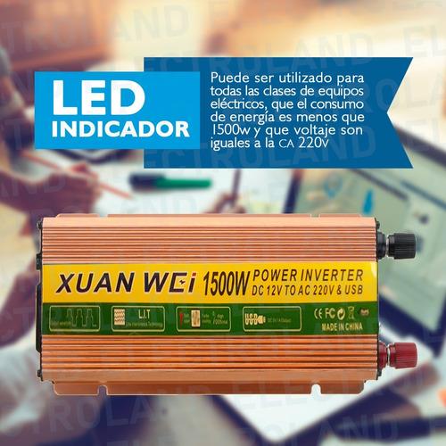 inversor de corriente conversor 1500w 12v - 220v dc a ac