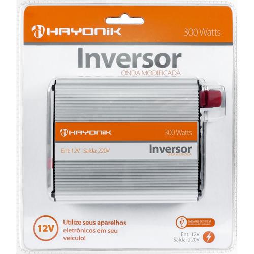 inversor de onda modificada 300w 12vdc 127v usb hayonik