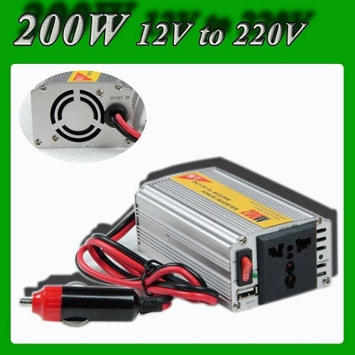 inversor de voltaje meind autos 12v a 220v 200 watts + usb