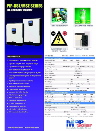 inversor senoidal 2400w 24v con cargador y reg pwm 50a hse