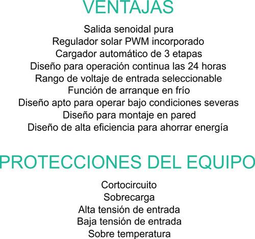 inversor senoidal 3000w 24v, cargador, regulador solar 1200w