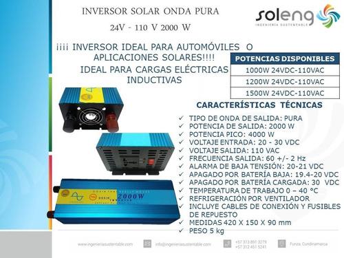 inversor solar onda pura 24v - 110 v 2000 w (envío gratis)