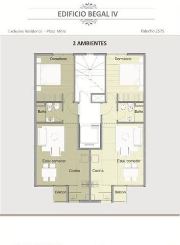 inversores 2 ambientes semipiso en plaza mitre 43m2