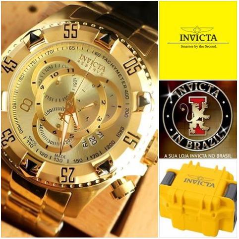 6b33786cfa8 Invicta 6471 14473 Swiss Original Banhado Ouro 18k C  Maleta - R ...