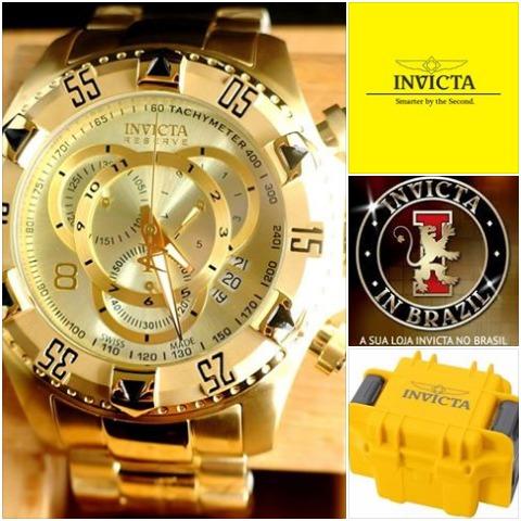 8cd453cece9 Invicta 6471 14473 Swiss Original Banhado Ouro 18k C  Maleta - R  1.998